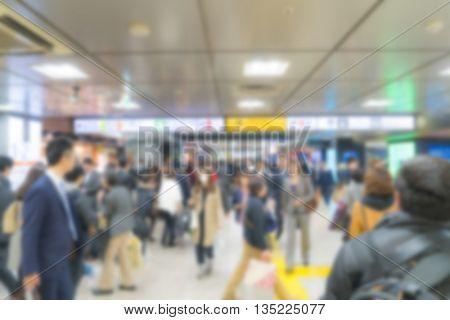 Abstract blur people on subway train