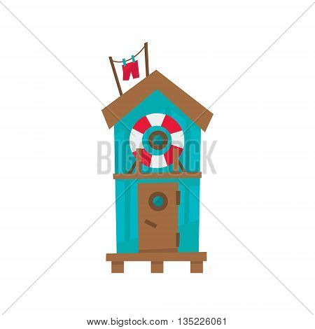 Beach Cabin With Life Preserver Buoy Cartoon Style Colorful Flat Vector Icon Isolated On White Background