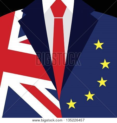 Brexit concept. British flag EU flag. EU referendum. Symbol of imminent exit of Great Britain out of the European Union. Vector illustration background.