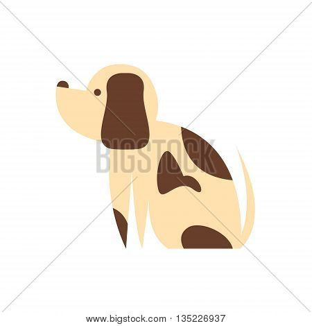 Mutt Dog Primitive Cartoon Illustration In Simplified Vector Design Isolated On White Background
