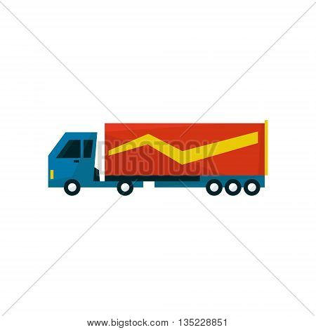 Big Long Distance Cargo Truck Simplified Flat Vector Design Colorful Illustration On White Background