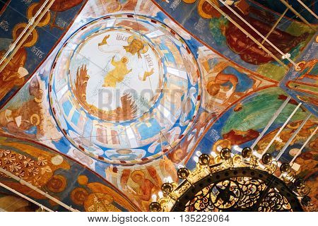 Suzdal Russia - May 22 2015: Ancient Frescoes On The Walls Of The Transfiguration Cathedral In Monastery Of Saint Euthymius In Suzdal Russia. The Monastery Was Founded In The 14th Century