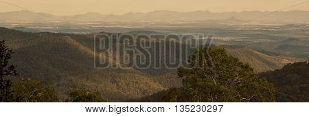 View from Mount Glorious during the afternoon near Brisbane, Queensland.