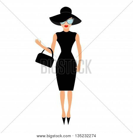 Woman in black elegant hat bag and sunglasses waving. Rich and beautiful celebrity girl. Beauty fashion model face red lips. People collection Cute cartoon character Flat White background Vector