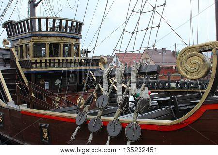 Pirate ship in the port. Poland. Leba