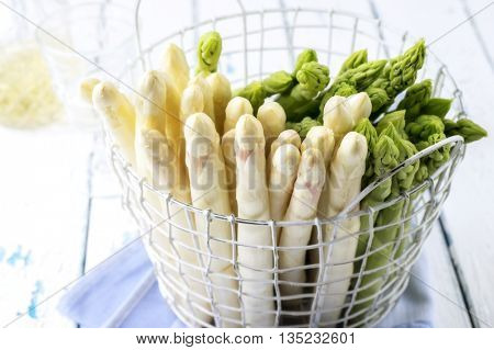 White and Green Asparagus in Basket