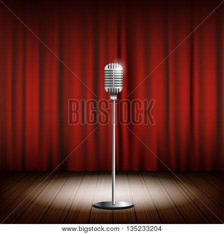 Metal chrome retro microphone on a stand. Scene with a red curtain. Stock vector illustration.