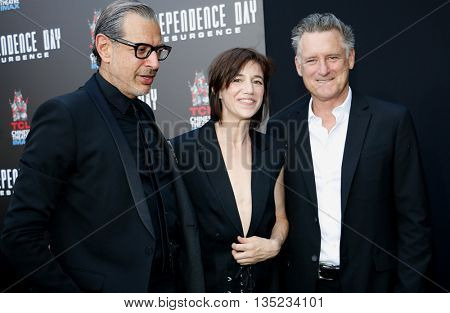 Jeff Goldblum, Charlotte Gainsbourg and Bill Pullman at the Roland Emmerich Hand And Footprint Ceremony held at the TCL Chinese Theatre in Hollywood, USA on June 20, 2016.