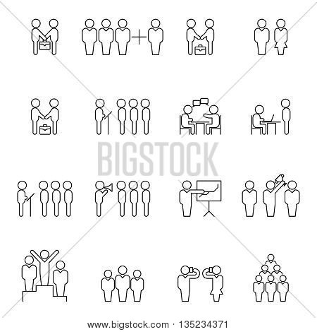 Team and teamwork thin line silhouettes. Business people outline icons. Business team icon, business teamwork icon, business partnership icon. Vector illustration