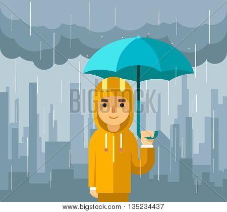 Under rain with umbrella. Man with umbrella standing under rain vector illustration. Rain and umbrella, person with umbrella,  man standing under umbrella