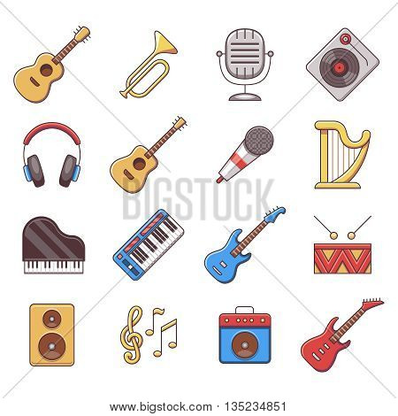 Linear music instruments vector color flat icons. Instrument musical, equipment instrument, audio acoustic instrument illustration