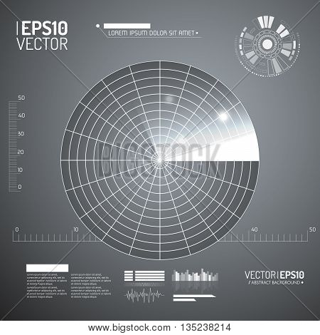 Radar screen. Vector illustration for your design. Technology background. Futuristic user interface. HUD. Vector EPS10.