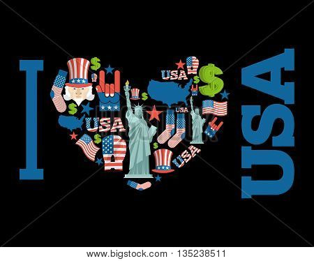 I Love America. Sign Heart Of Usa Traditional Folk Characters. Map Of Country And United States Flag