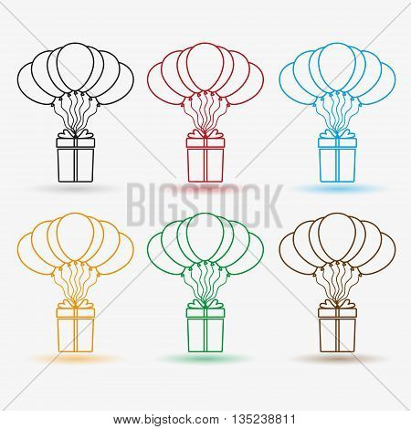 Gift Package Soaring With Helium Balloons Outline Icons Set Eps10