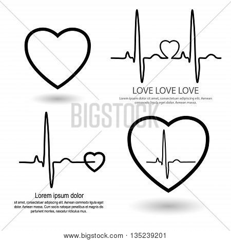Cardio heart set for clinic set for cardio clinic rhythm ECG heart icons with text