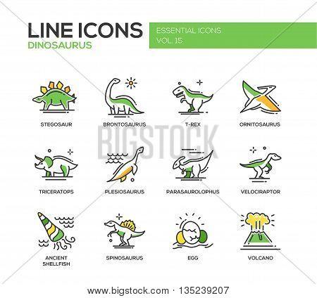 Set of modern vector line design icons and pictograms of dinosaurs species, prehistoric age life. Stegosaur, t-rex, brontosaurus, ornitosaurus, plesiosaurus, triceratops, velociraptor, spinosaurus