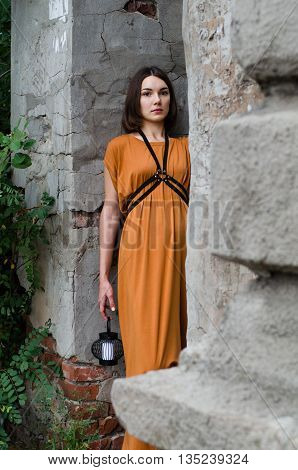 Beautiful girl in a boho dress, street fashion casual style