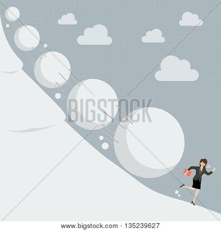 Business woman running away from snowball effect. Business concept
