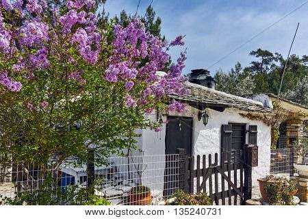 Old stone house and violet flowers in village of Aliki, Thassos island, East Macedonia and Thrace, Greece