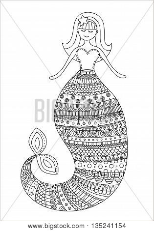 Cute doodle mermaid. Vector hand drawn mermaid with doodle ornament. Black and white colors. Isolated. Coloring page for coloring book.