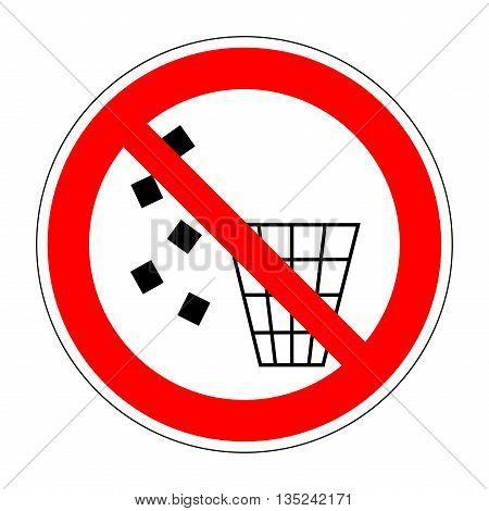 Sign no littering. Forbidden to throw garbage. Stop label print. No debris symbol. Not allowed refuse flat symbol. No trash red prohibition plane icon on white background. Stock vector illustration