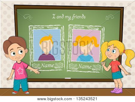 Yearbook with boy , girl and chalkboard for two persons vector