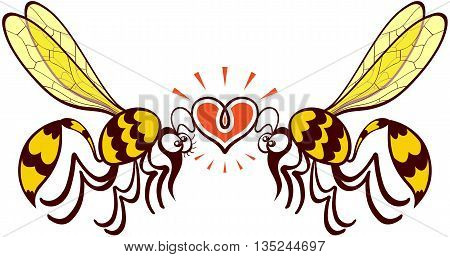 Impressive couple of wasps flying, staring at each other and forming a shiny heart with their antennae