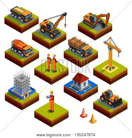 Construction isometric isolated icons with workers in helmets and uniforms building object crane bulldozer  truck concrete mixer and other vehicles isolated vector illustration