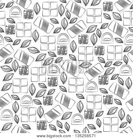Seamless pattern with chocolate sweets isolated on white background. Assortment of cocao items. Various tasty gourmet products. Can be used for wallpaper and wrapping paper. Mix. Vector
