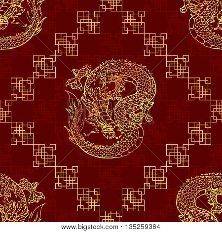 Cunning Asian dragon seamless pattern - gold line on dark red background