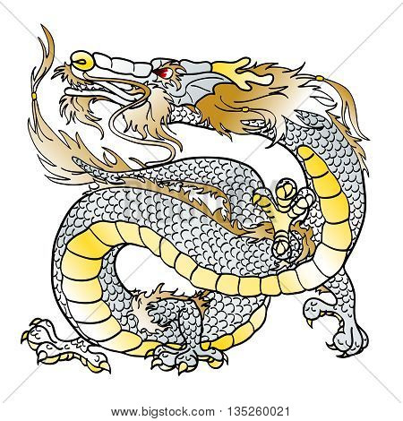 Majestic white metal Asian dragon, simbol chinese new year, on white background