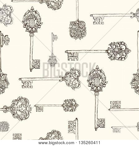 Seamless pattern withhand drawn antique keys. vintage keys with floral elements, butterflies and birds, vector illustration