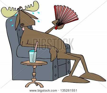 Illustration of a hot, sweaty bull moose sitting in a chair with a drink by his side while fanning himself.
