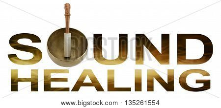 Sound Healing Logo - Tibetan Singing Bowl making the O of SOUND HEALING with golden brown flowing wave like detail inside letters isolated on white background