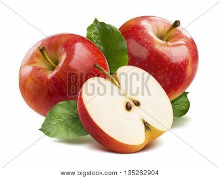 3 red apples half isolated on white background as package design element