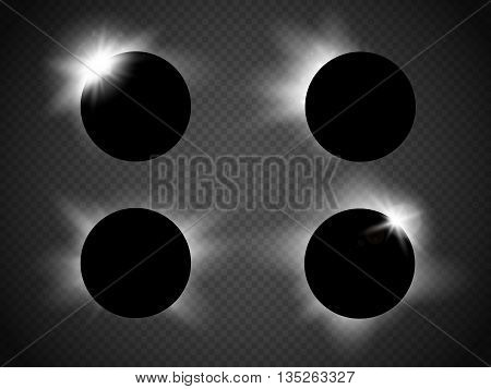 Sun and moon Vector Set. Various vector suns and moons including an eclipse. Vector illustration