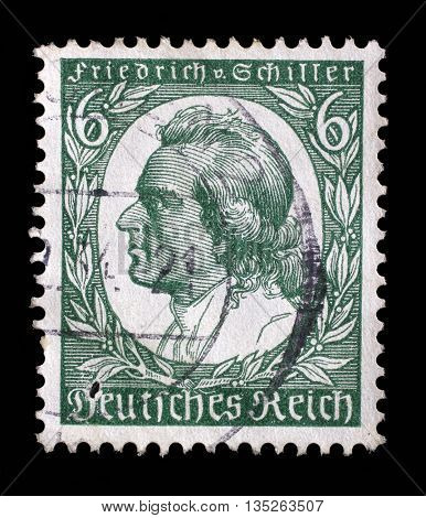 ZAGREB, CROATIA - JUNE 22:A stamp printed in Germany shows Johann Christoph Friedrich von Schiller was a German poet, philosopher, historian, and playwright, 1935, on June 22, 2014, Zagreb, Croatia