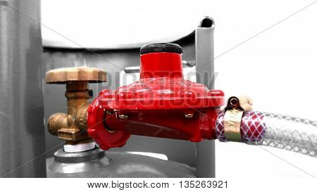 Regulator gas, Gas valves and rubber tube around gray scale color and white background