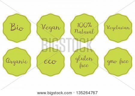 vector set of green stickers for healthy food. 100% Natural Organic Bio Vegan Vegetarian Eco Glunen GMO free symbols