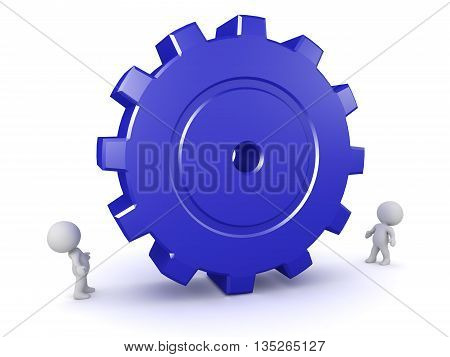 Small 3D characters looking up at a large gear. Isolated on white background.