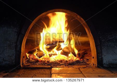 burning billets in fire-box of fireplace in country cottage
