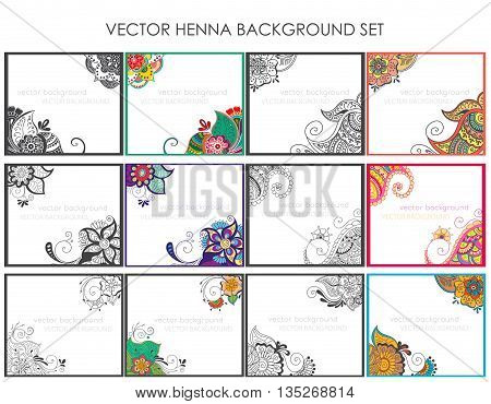 Vector set of abstract ethnic background with henna patterns. Stock mehndi illustration for design