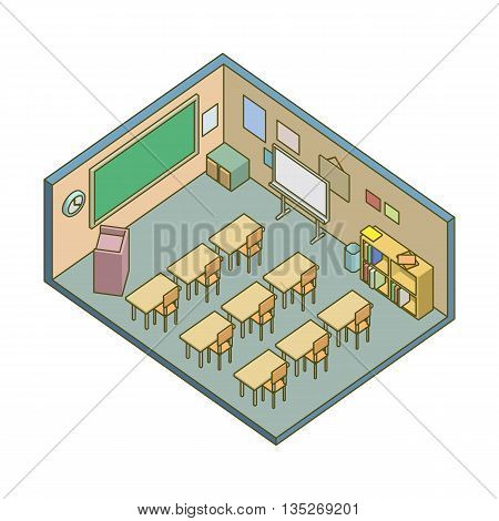 Isometric school classroom. school and education illustration.