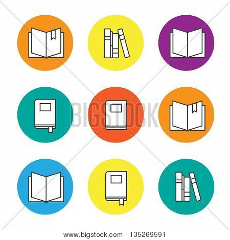 Colorful education icons set with line books eps10