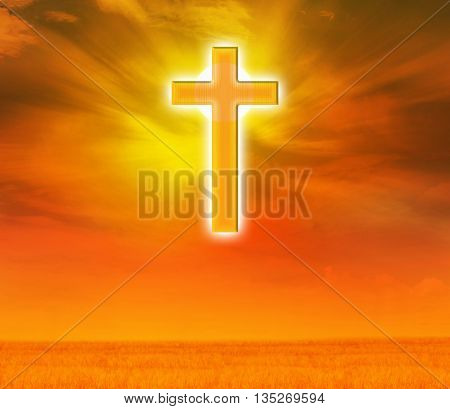 Light expel darkness concept background Light from sky or heaven shine through crucifix or cross on golden sky god believe and hope crucifix golden shining background