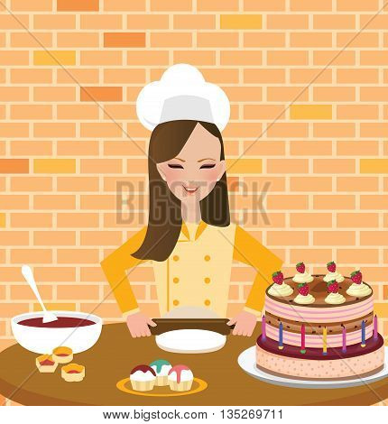girls woman chef cooking baking cake in kitchen wearing hat and apron vector