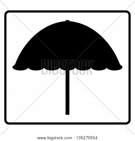 Sign beach umbrella. Black information icon isolated on white background. Travel or relax concept. Monochrome symbol. Mark of summer vacation. Silhouette of a parasol. Stock vector illustration