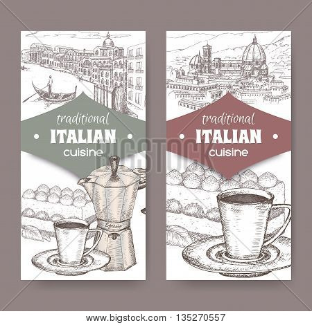 Set of two traditional Italian cuisine labels with Venice and Florence landscape, tiramisu dessert, coffee cup and espresso maker on white. Great for cafe, restaurant, cafe ads, brochures, labels.