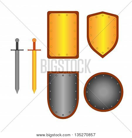 Set of signs shield sword. Combat icon isolated on white background. Silver gold images. Mark with volume effect. Symbol of a metal elements. Logo for military security. Stock vector ilustration