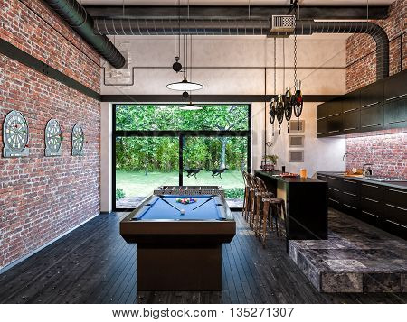 3d illustration of interior design loft style kitchen and livingroom. The concept of commercial interiors